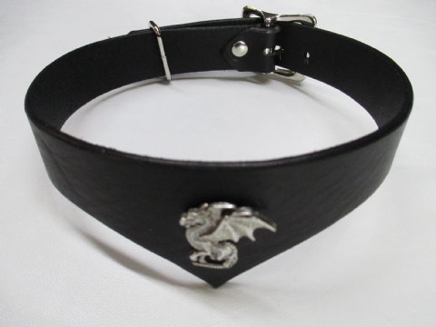 Leather Drop Front Dragon Concho Design Collar